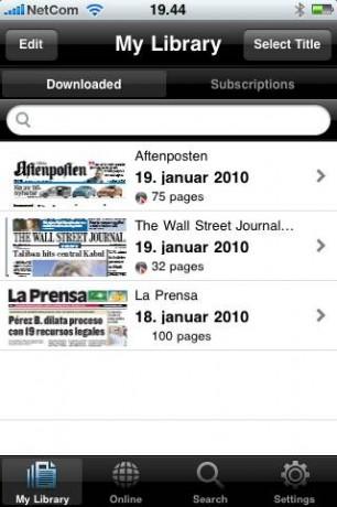 Biblioteket - avisene jeg har lastet ned mens jeg testet app-en. (Skjermbilde)