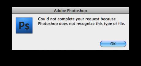 Feilmelding fra Photoshop