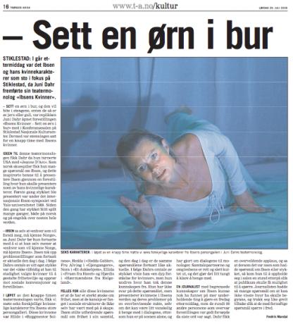 Faksimile fra Trønder-Avisa, 29.07.06