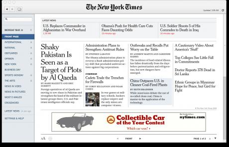 Slik ser Times Reader 2.0 ut. (Skjermdump)