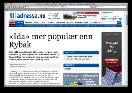 Dette er vinklingen som ble valgt da NTB/adressa.no skulle fortelle sine lesere at fossilet «Ida» var kommet til Norge: «Mer populær enn Rybak»!