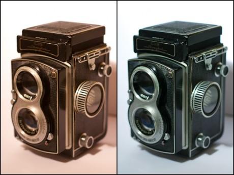 Til venstre er bildet slik det kom ut av kameraet, til høyre har jeg klikket med musa to ganger.
