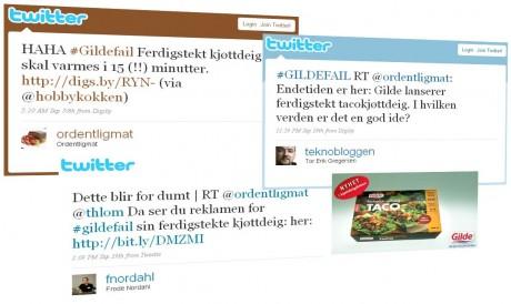 Skjermdumper fra Twitter og Gilde.no. Montasje: fmandal.com